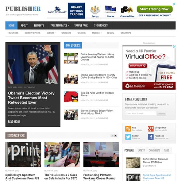 publisher Magazine WordPress theme