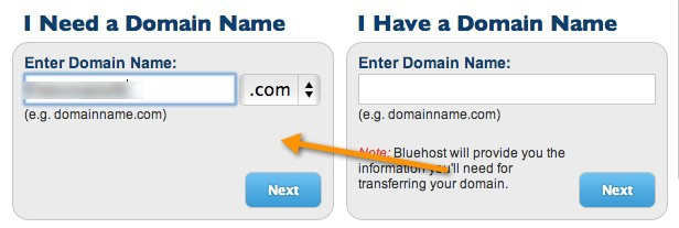 bluehost buy domain name